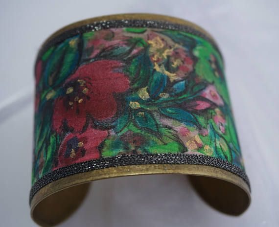 Silk Cuff Bracelet Bracelet Manchette Bracelets Soie Peinte
