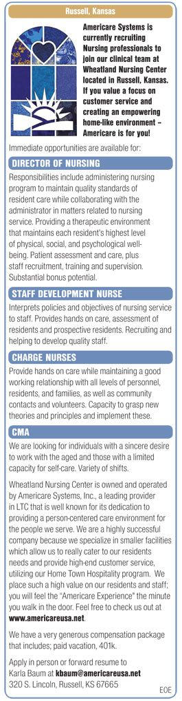 Director of Nursing - Staff Development Nurse - Charge Nurses - CMA wanted in Russell Kansas | NEWS-Line for Healthcare Professionals