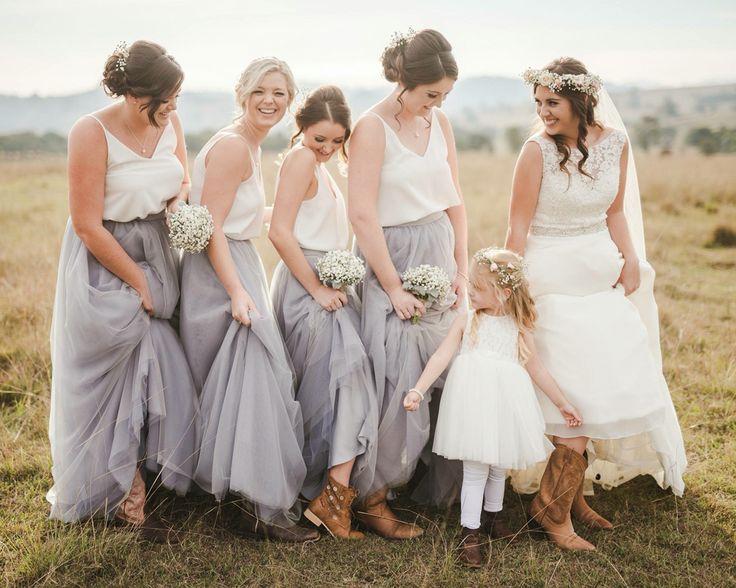 bridesmaid dresses, wedding separates, Space 46 tulle skirt, gray maxi skirt, James Day weddings