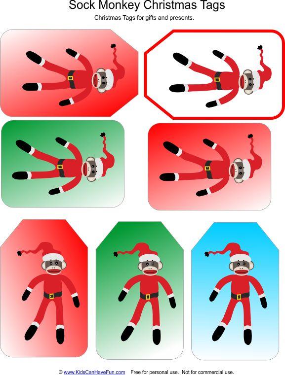 Santa Sock Monkey Gift Tags Christmas Activities With
