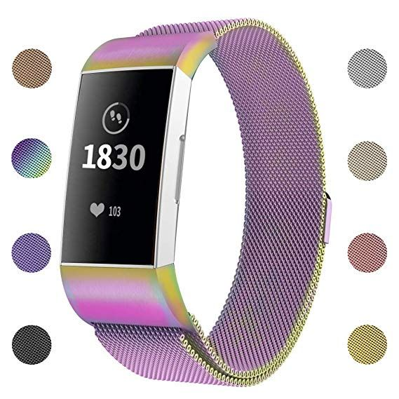 7d8f9817c744 iGK Metal Replacement Bands Compatible for Fitbit Charge 3   Charge 3 SE  Fitness Activity Tracker