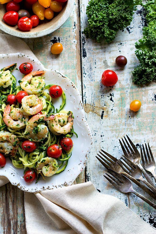 Zucchini Noodles + Pesto and Shrimp