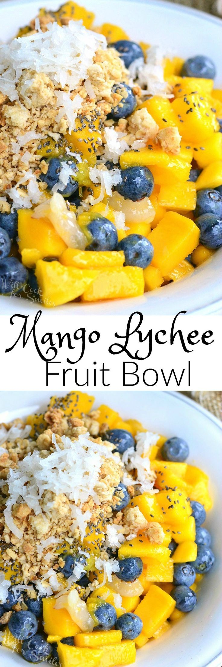 Mango Lychee and Blueberry Fruit Bowl. Refreshing summer treat that's full of delicate, sweet flavors and a little crunch