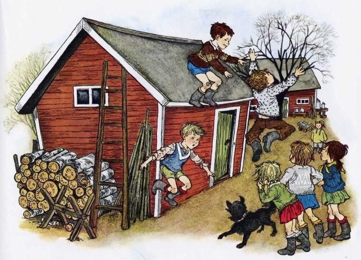 """The children from Astrid Lindgren´s """"Bullerbyn"""". Illustration by Ilon Wikland"""
