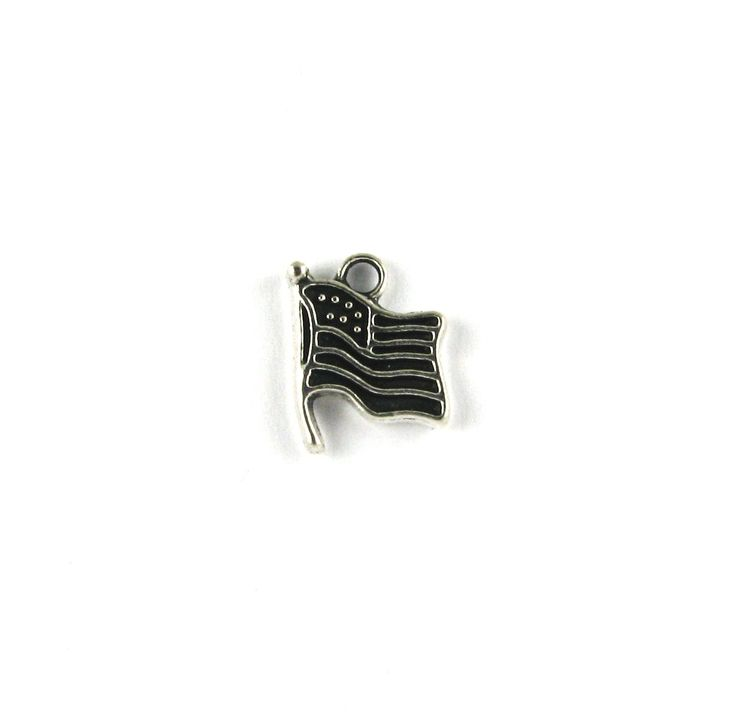 Small American Flag Waving Antique Silver Charm