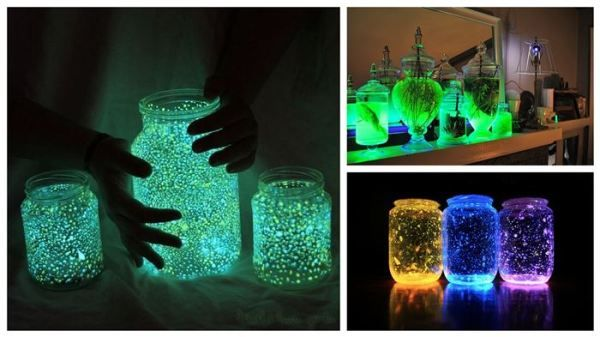 DIY Glow In The Dark Jars - Find Fun Art Projects to Do at Home and Arts and Crafts Ideas