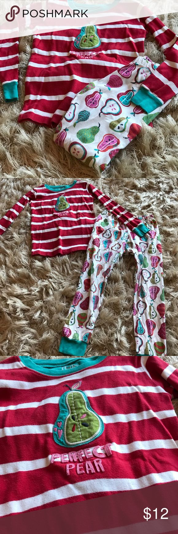 🍐😴Girls Hatley Pajama Set😴🍐 Perfect Pear 🍐girls Hatley pajama set (size 6). Adorable pears adorn the long pants and coordinating long sleeve top. Good used condition; slight fading from washing. Hatley Pajamas Pajama Sets