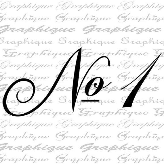 NUMBER 1 One Fancy SCRIPT Digital Image Download by Graphique