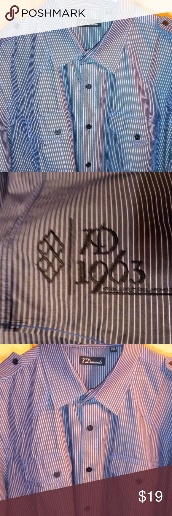 7 Diamonds XXL men's button down with embroidery Like NEW!! Men's 7 Diamonds button down in XXL.  Button down flaps on the shoulders like a military style shirt. 7 Diamonds Shirts Casual Button Down Shirts