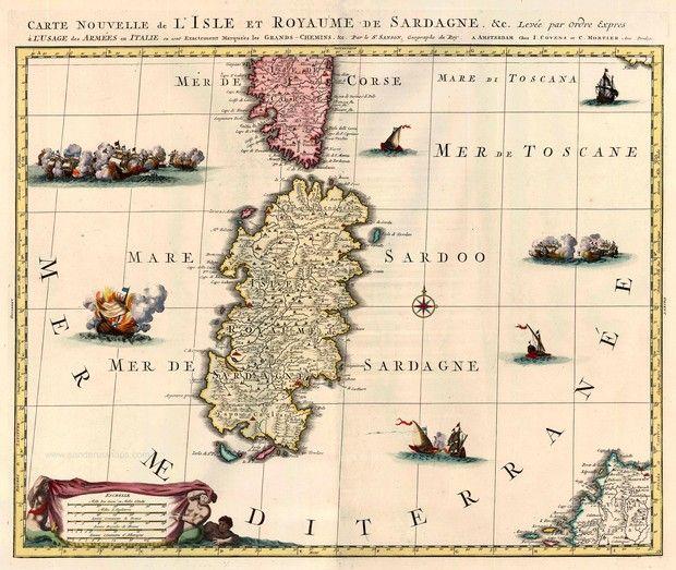 Carte Nouvelle de l'Isle et Royaume de Sardagne - Covens & Mortier, c. 1720