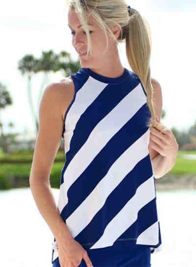 Bali blue stripe jofit ladies plus size sleeveless for Plus size sleeveless golf shirts
