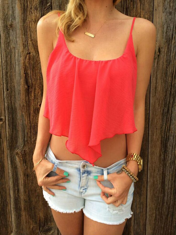 Super Cute Pink Flowy Crop Top Ufe0f | Outrageous Outfits | Pinterest | Pink