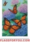 Monarchs and Hydrangeas Garden Flag