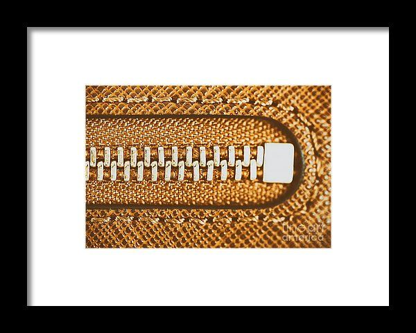 Zipper Closeup On Brown Leather Wallet Framed Print