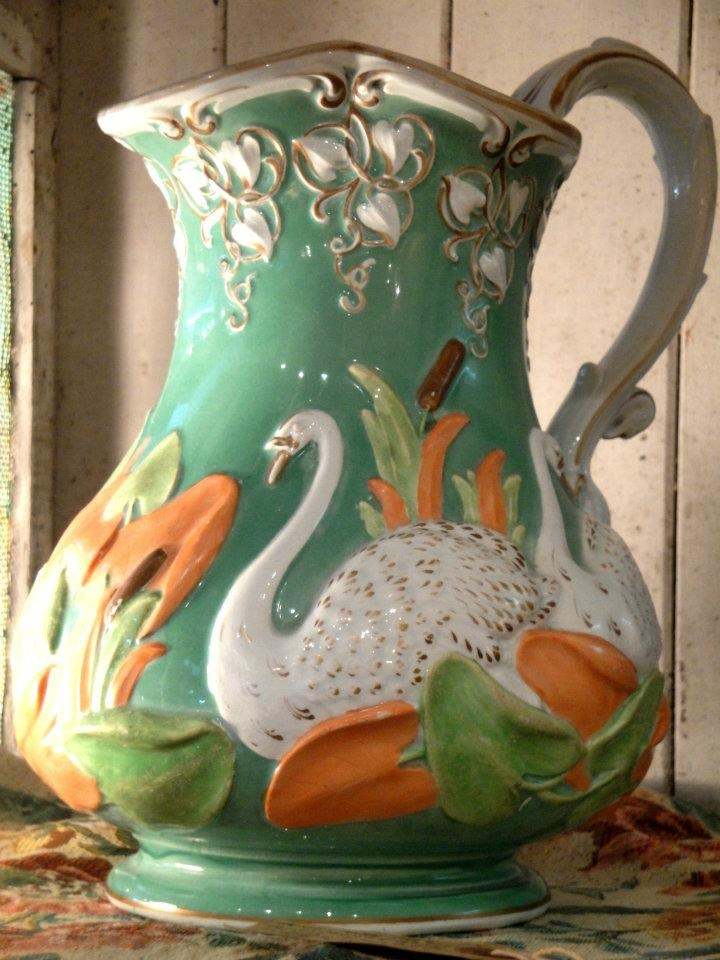 Antique French Majolica Swan Ewer - Magnificent $310