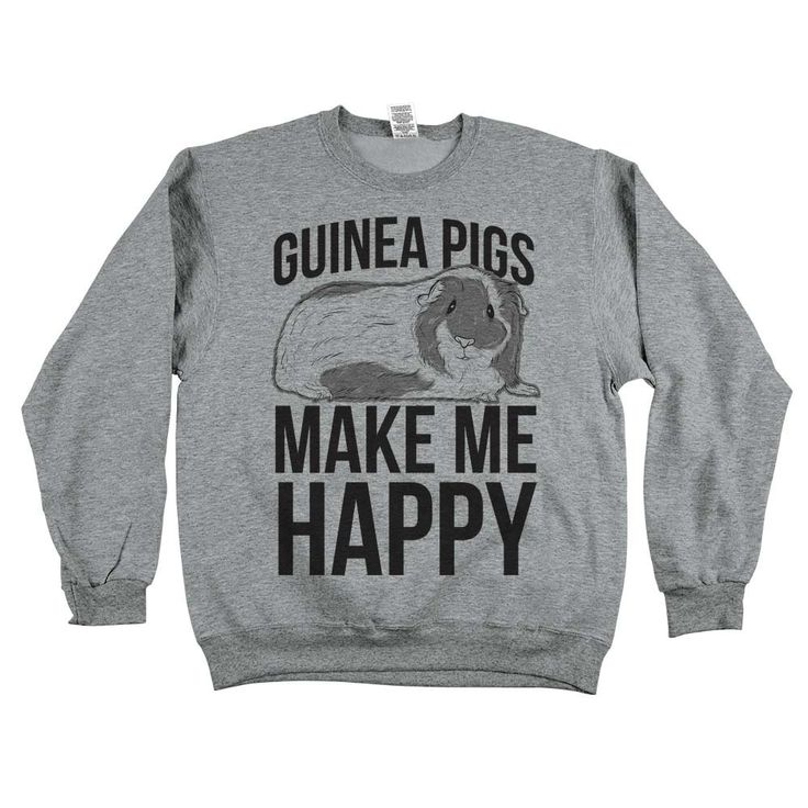 """They're cute, cuddly, and make those adorable squeaking noises! You don't have to own a guinea pig to wear our """"Guinea Pigs Make Me Happy"""" tees!!"""