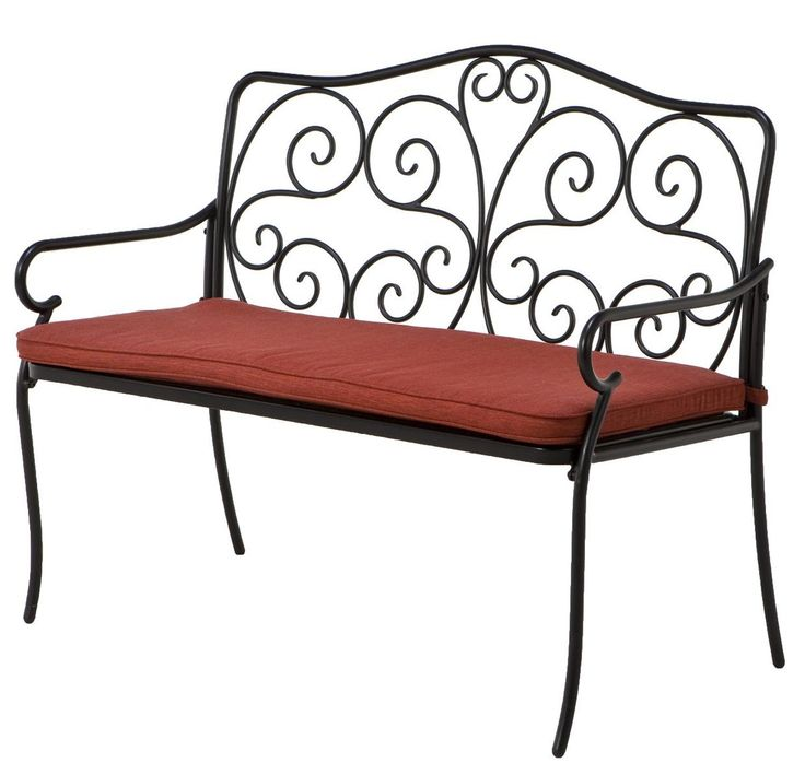 """Amazon.com : Grand Patio Vines Pattern Lawrence Steel Bench with Outdoor Olefin Cushion, Black Powder Coated Heavy Duty Rust Resistant Steel Frames, 45"""" Perfect for 2 People to Share the Space, 2015 NEW ARRIVAL : Patio, Lawn & Garden"""