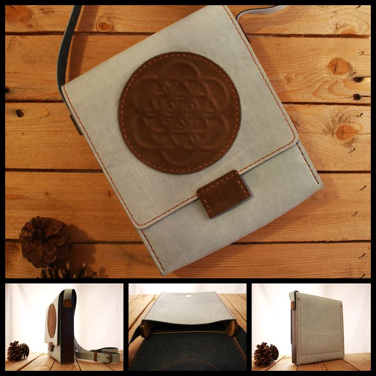 Flower of Life Wood Leather Bag