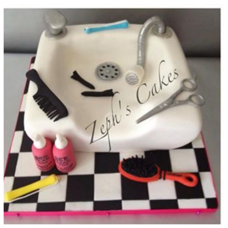 Hairdressers basin cake with all edible accessories.