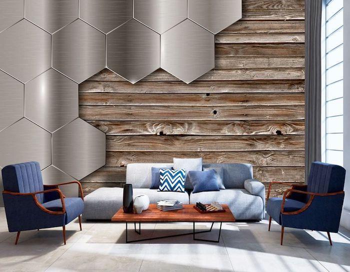 Wood Metal Honeycomb Tiles 3d Wallpaper Grey Sofa Wall Treatments Navy In 2020 Wallpaper Living Room Accent Wall Accent Walls In Living Room Grey Wallpaper Accent Wall