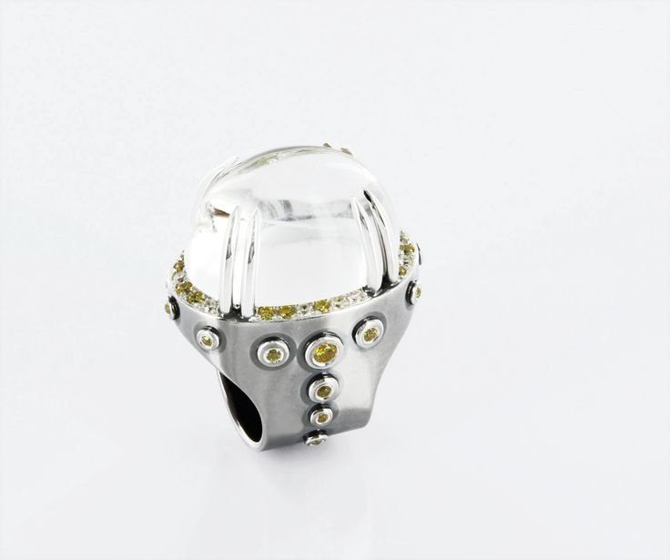 MAGIC GLAM* handmade partially oxidized silver ring, rock crystal center stone is set over a thin layer of yellow gold foil shimmering through it - surrounded by white, canary yellow and yellow crystals