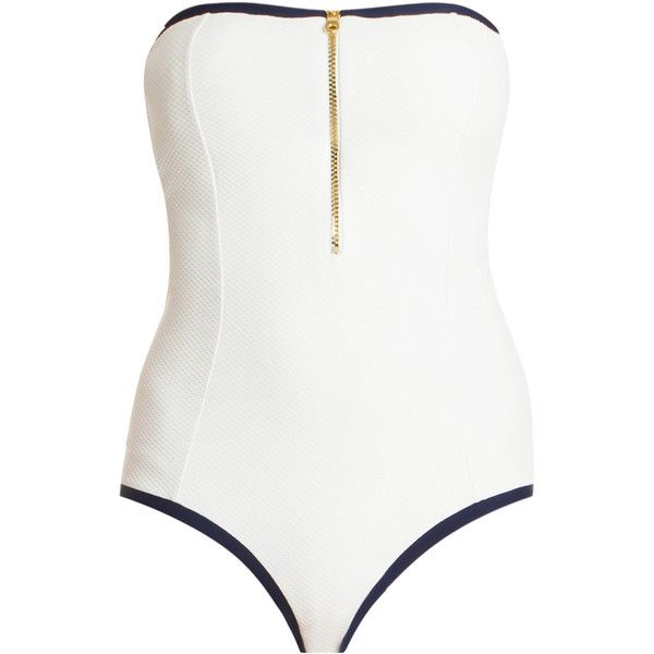 HEIDI KLEIN Textured One Piece Swimsuit ($307) ❤ liked on Polyvore featuring swimwear, one-piece swimsuits, padded one piece swimsuit, one piece swimsuits, white bathing suit, color block swimsuit and halter top one piece swimsuit