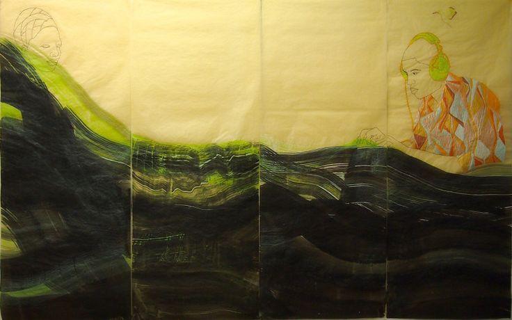 "Wura-Natasha Ogunji, 2015, ""Sound Man and The Sea"", 2015, Thread, ink, graphite on paper, 4 panels."