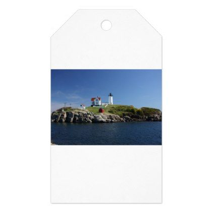 004 - Cape Neddick Nubble Lighthouse Gift Tags - coast design nature ocean diy custom