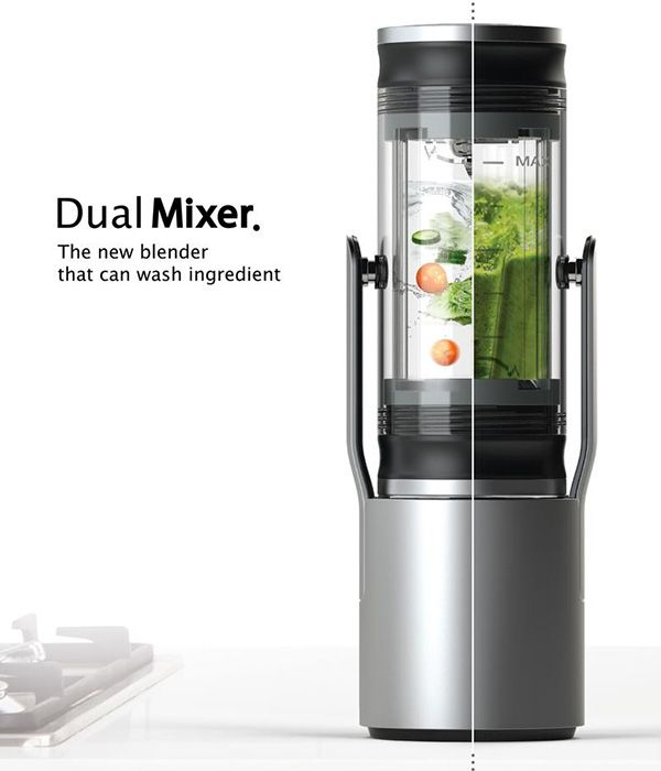 The Dual Mixer is a Blender that can sanitize all ingredients to be blended thoroughly, before you mix them up. The cleaning process begins inside the blender itself and the system takes care to wash off dirt, grime and microbes, using torque pressure to do the job.