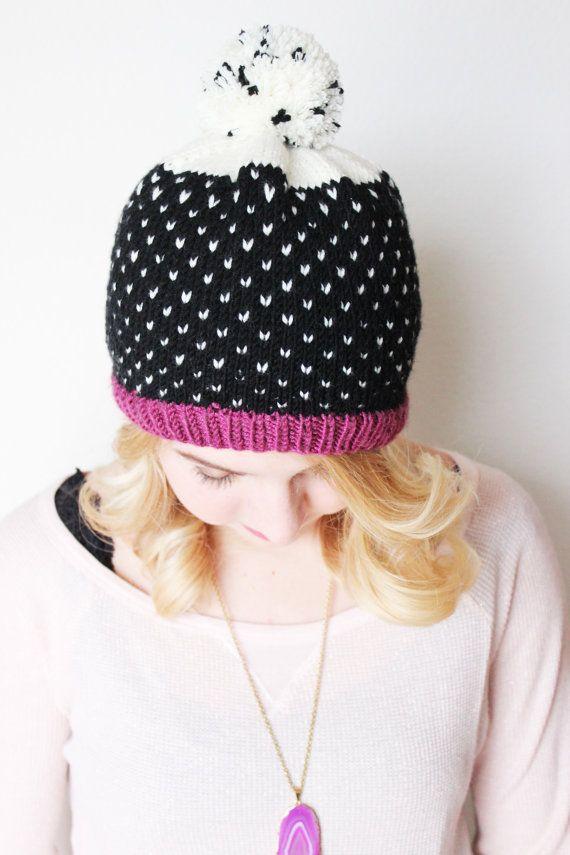 Polka Dot Hat  Knit Hat  Pom Pom by JYCCreations on Etsy