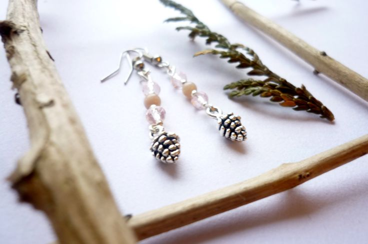 Earrings with pink moonstone and pine cones charms by MoonstoneSerena on Etsy