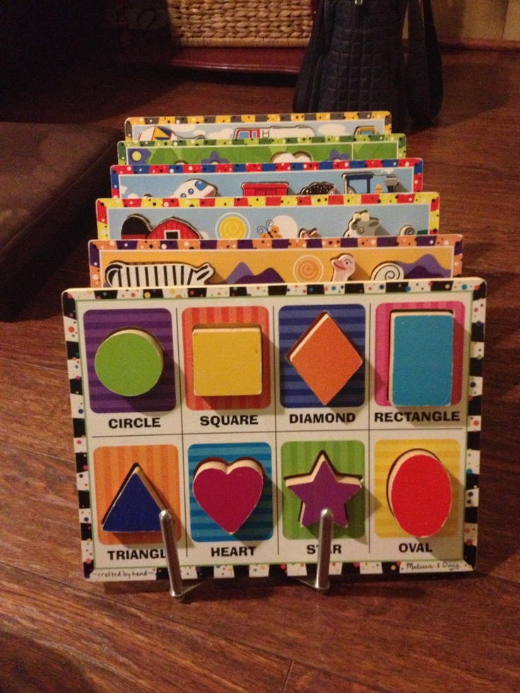 Finally! Ikea pot lid holder (Rationell Variera) to hold Melissa and Doug chunky puzzles!