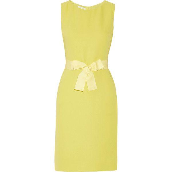 Oscar de la Renta Grosgrain-trimmed silk-organza dress ($1,080) ❤ liked on Polyvore featuring dresses, bright yellow, silk organza dress, bright colored dresses, bright dresses, beige dress and bright yellow dress