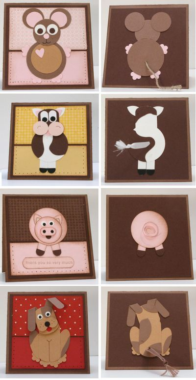 cute animals with paper punches - fronts and backs! Love this idea of putting the backs on cards ;o)