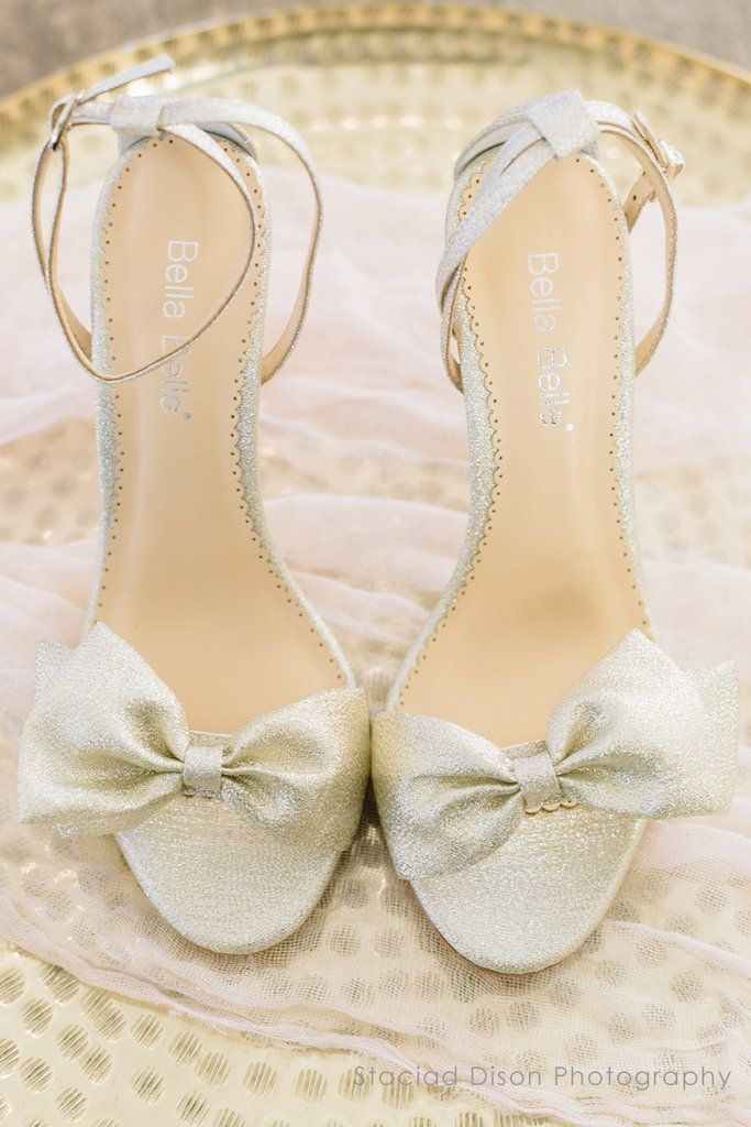 Bows are so on trend and perfect for your shoes! | Bella Belle Aubrey Gold Bow Evening Shoes | Gold Wedding Shoes | Wedding Accessories | Bridal Accessories | Wedding Heels | Bridal Style | Wedding Fashion | #weddingshoes #heels #goldwedding