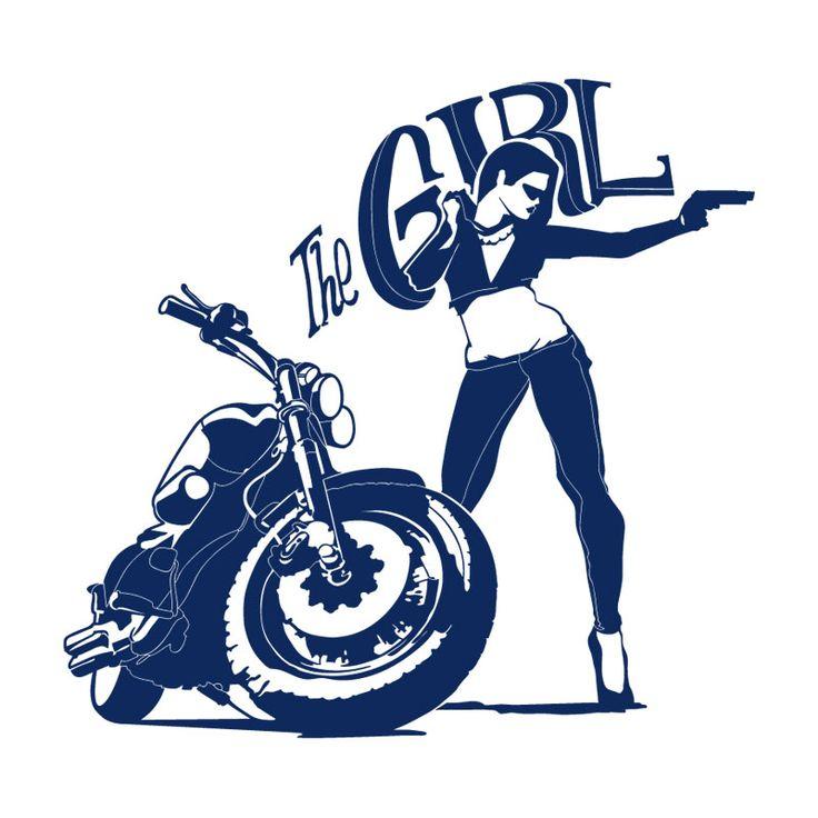 Vinilo decorativo de una chica dispueseta a todo. Pégalo en tu pared y personaliza tu dormitorio o salón #lokolokodecora #mujer #moto
