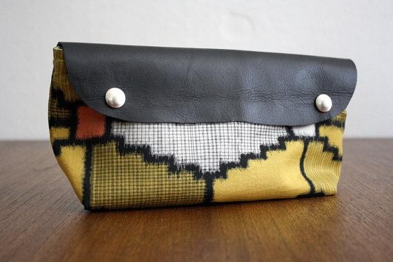 Tribal Print JaJou Clutch.  Vintage Silk Kimono & Leather