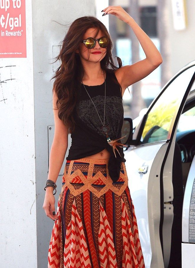 Tied tee with maxi skirt