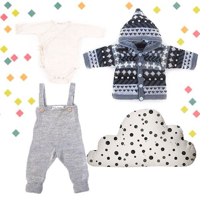 Winter outfit with nursery decor to match- Moxie Hearts knitted jacket, Alaia bodysuit, Sebastian overalls and the Annywho cloud pillow all on the website now  www.moxiehearts.com #ethical #modernheirloom #nursery #ministyle  #onlineshop #moxiehearts