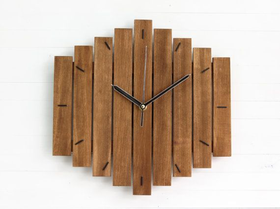 wood clock romb ii unique wall clock decor retro wall by paladim