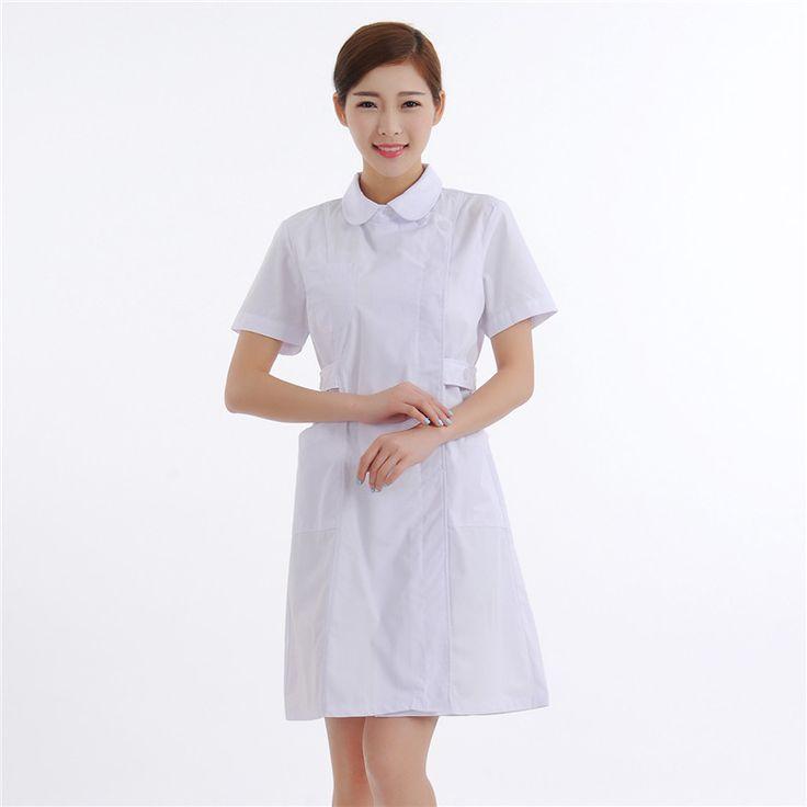 Female chinese style turn-down collar nurse uniform short-sleeve adjustable slim white uniform white lab coat