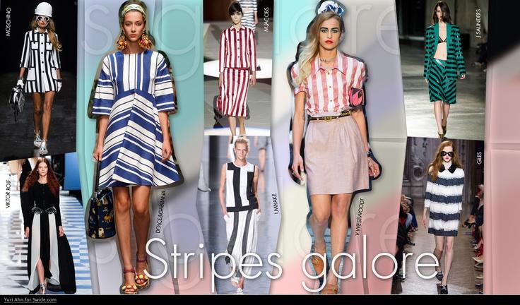 Stripes Galore-Strepen zijn een groot ding dit seizoen, en waren aanwezig op de catwalks van New York tot Parijs. De zomerse sfeer van het seizoen werd nog versterkt door de strepen, geïnspireerd door parasols in Dolce & Gabbana of zuurstokken als bij Marc Jacobs. Horizontaal, verticaal en schuin, strepen sieren jassen, jurken en shirts, en zal een ware trend zijn komende zomer.