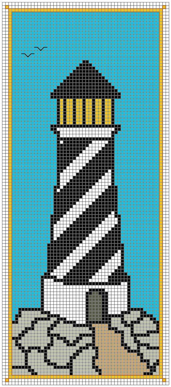 Lighthouse bookmark cross stitch pattern