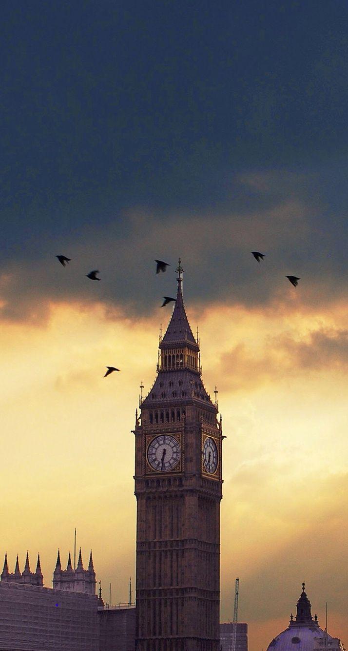 Iphone wallpaper london tumblr - Big Ben London Sunset Birds Iphone 6 Plus Hd Wallpaper