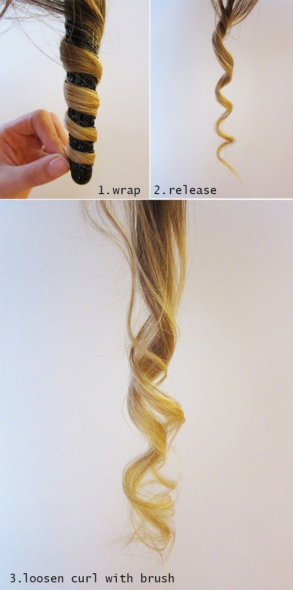 Point the curling wand down and wrap hair around