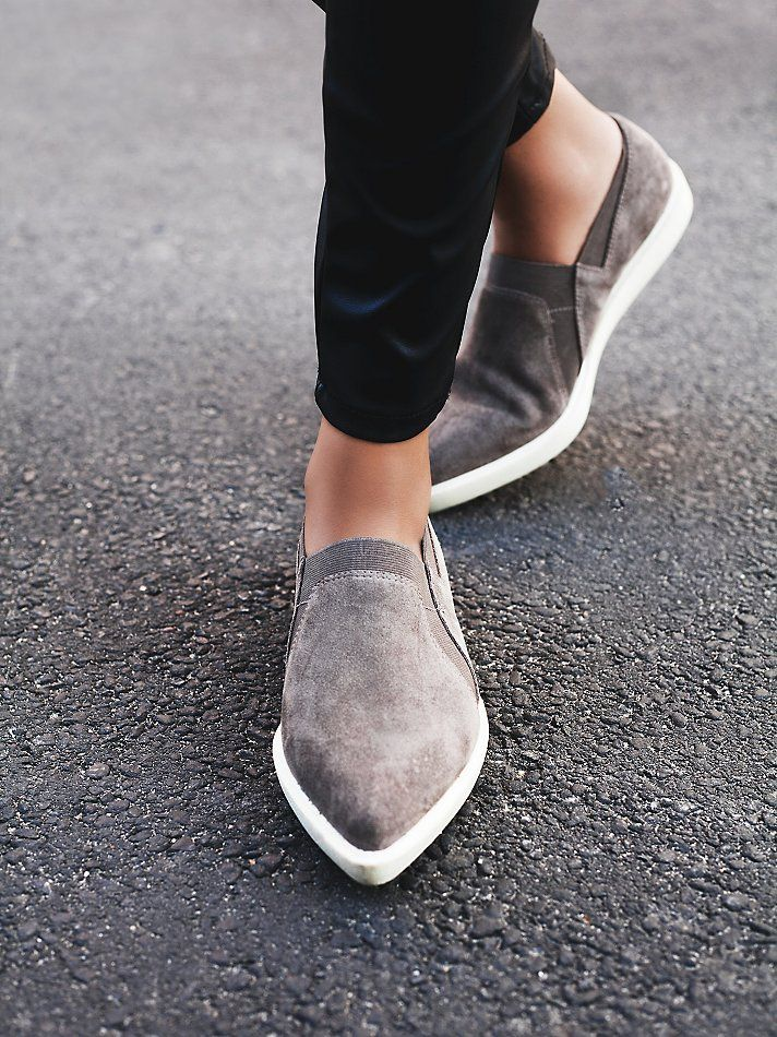 Yvonne Slip-On Sneaker | Modern and minimal suede slip-on sneakers with pointed toes, stretch panels, and padded insoles.