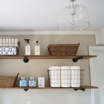 A Set Of Diy Pipe Shelves Is The Main Feature Of These Laundry Room Storage Ideas