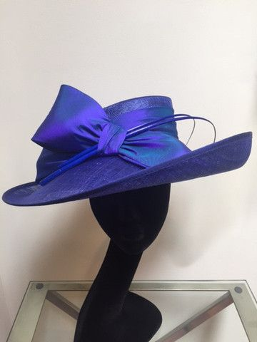 Up Brim Hat with Silk Bow - Royal Blue and Purple – Lalage Beaumont
