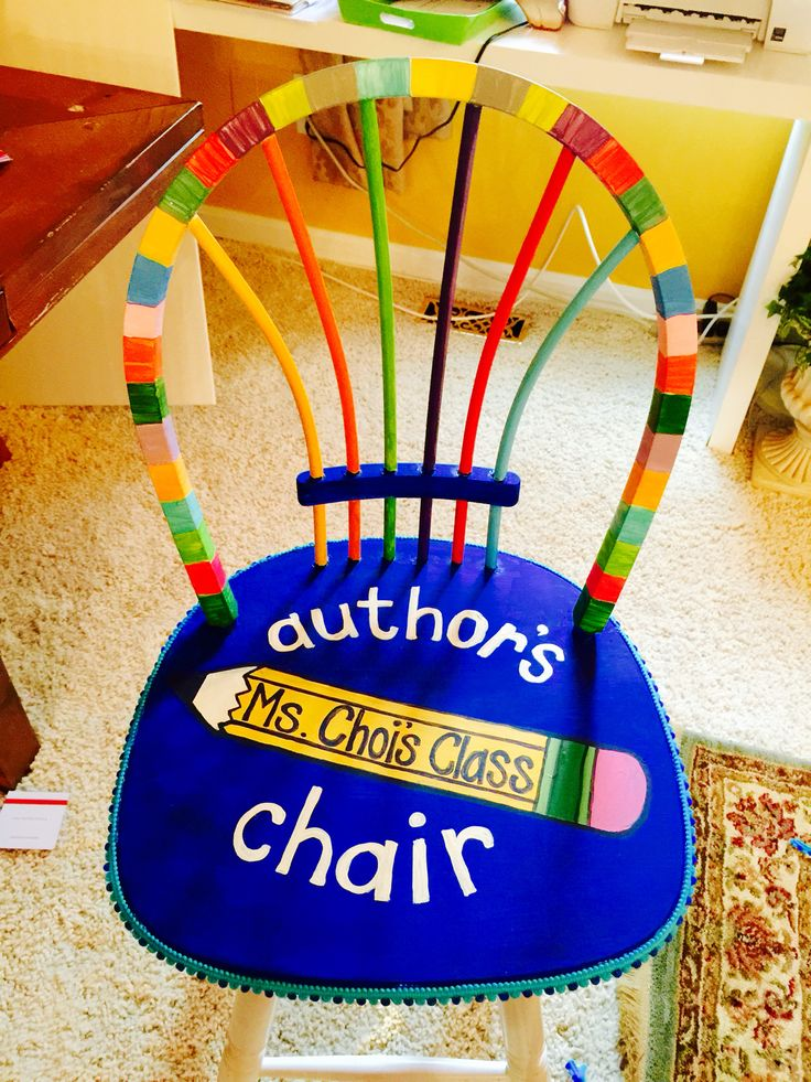 Author's chair for students to share and celebrate their writing! Upcycled from a bar chair I found left by the dumpster