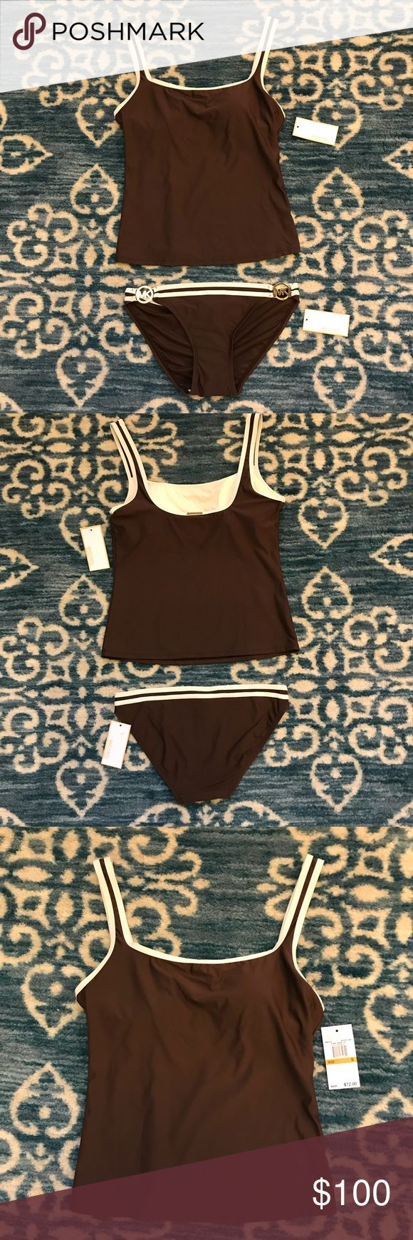 Micael Kors tankini size small top / XS bottom NWT Micael Kors tankini size small top / P (XS) bottom. Walnut brown with cream trimming and gold logo hardware. Top has removable padding. NWT - separately top is $72 and bottom is $54. MICHAEL Michael Kors Swim